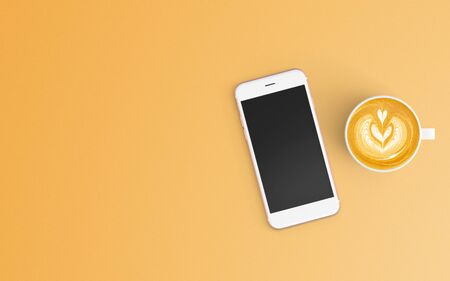 Modern workspace with coffee cup and smartphone copy space on orange color background. Top view. Flat lay style. 스톡 콘텐츠