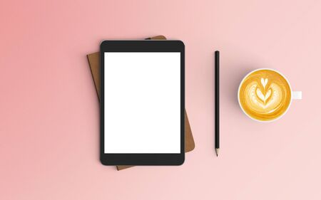 Modern workspace with coffee cup, notebook and tablet copy space on pink color background. Top view. Flat lay style.