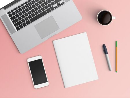 Modern office desk workplace with notebook, coffee cup, blank paper, pen and smartphone copy space on color background. Top view. Flat lay style.