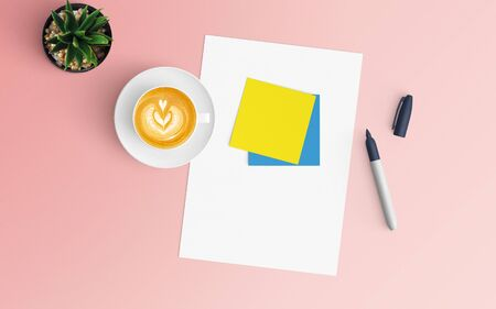 Modern workspace with coffee cup and blank paper copy space on pink color background. Top view. Flat lay style.