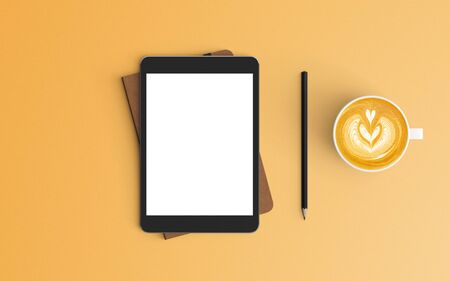 Modern workspace with coffee cup, notebook and tablet copy space on orange color background. Top view. Flat lay style. 스톡 콘텐츠