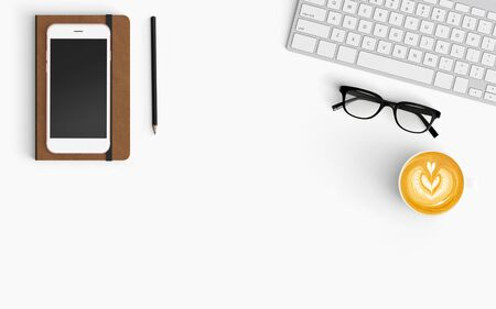 Modern workspace with coffee cup, smartphone, paper, notebook, tablet and eyeglasses copy space on white color background. Top view. Flat lay style. 스톡 콘텐츠
