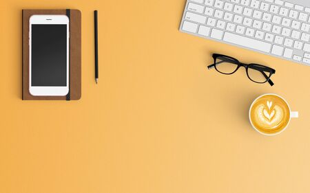 Modern workspace with coffee cup, notebook, keyboard and smartphone copy space on orange color background. Top view. Flat lay style.