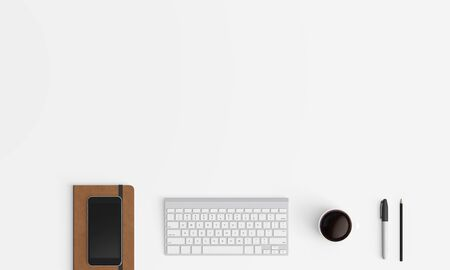 Modern workplace with notebook copy space on color background. Top view. Flat lay style.
