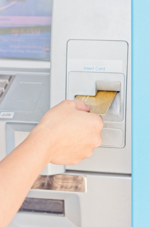 Automated teller machine close up photo