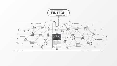 Fin tech vector design. Financial technology and Business investment. Bitcoin and Block chain technology info graphic. Financial exchange concept. Gray tone. Vector illustration.