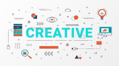플랫 라인 크리 에이 티브 정보 그래픽 디자인 개념입니다. 창의적인 아이디어 개념입니다. 웹 배너, 비즈니스 크리 에이 티브, 교육, 포스터 디자인 및
