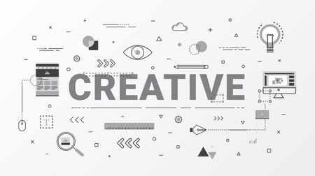Vlakke lijn creatief Info grafisch ontwerpconcept. Creatief ideeconcept. Dunne lijn kunststijl ontwerp voor webbanner, zakelijke creatieve, onderwijs, posterontwerp en reclame. Vector illustratie.