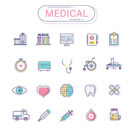 sanatorium: Medical icons set. Healthcare flat line icon style create by vector. Gray color tone silhouette on white background. The set can be used for hospital website, healthcare banner, infographics and mobile app