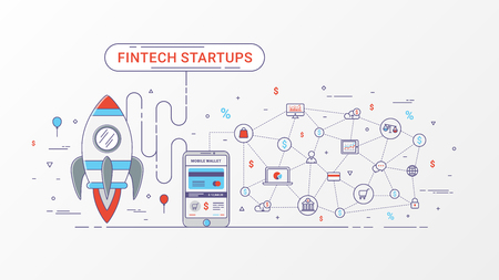 Fintech startup infographic. Financial technology and new business investment with blockchain technology contain Rocket, Digital mobile wallet and Mobile payment, Online shopping icons and e-commerce. Vector illustration. Illustration