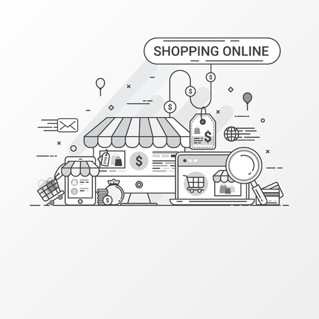 plaza: Shopping online concept. This set contains icon elements, shopping website, online store, shop, shopping bag, credit card, search, price tag, tablet, laptop, and store app. Flat line style create by vector.