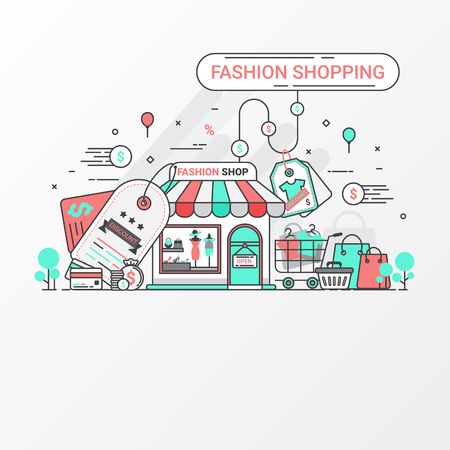 Fashion shopping concept. This set contains icon elements, fashion store, discount label, shopping bad, basket, t-shirt in cart, credit card, coin, price tag and clothing. Vector illustration.