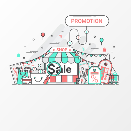 plaza: Promotion and offers concept. This set contains icon elements, coupon, discount label, online store, shop, shopping bag, credit card, search, price tag and special offers. Flat line style create by vector.