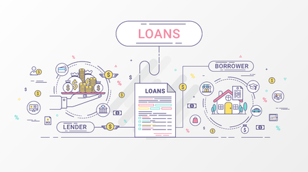 financial institutions: Loan Infographics. Loan agreement between the lender and the borrower. Flat line icons design contains loan offer, finance, money, bank, creditor, and debtor. Vector illustration.