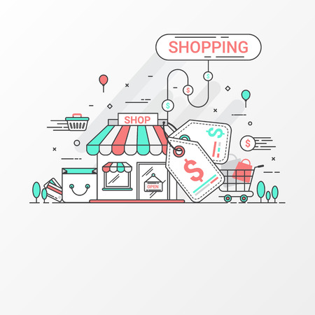 plaza: Shopping concept. This set contains graphic elements, price tag, store, shop, shopping bag, cart, basket, coin, credit card and abstract graphic create by vector. Can be used for shopping banner and printing layout