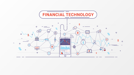 Fintech and blockchain technology. Financial exchange and trading design concept. Business investment info graphic can be used for web banner, advertising and marketing. Vector illustration.