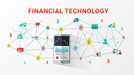 Financial technology and blockchain. Financial exchange and trading design concept. Business investment info graphic can be used for web banner, advertising and marketing. Vector illustration.