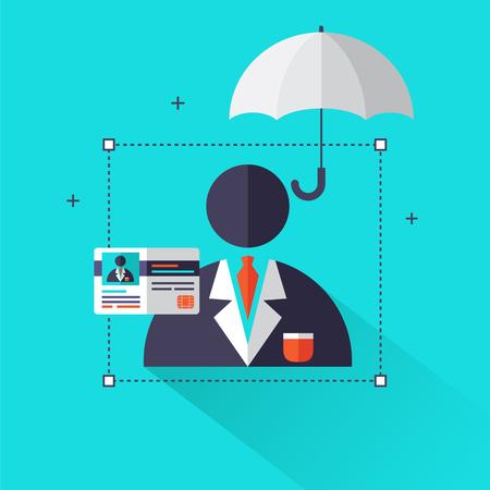 Levensverzekering concept - Leven en gezondheidszorg info grafische elementen in vlakke stijl iconen zoals man pictogram, paraplu, verzekering kaart. Kan voor banner, affiche, informatiegrafiek worden gebruikt. Vector illustratie.