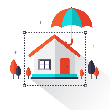 Property insurance - Home real estate protected under umbrella flat style concept create by vector. Can be used for web banner, business, website, poster design, layout, diagram and advertising.
