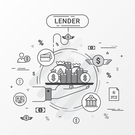 financial institutions: Lender infographics concept. Hand holding a money tray. Loan lending of money from bank, personal loans, credit card, organization or entity. Flat line design create by vector. Can be used for lender banner and advertisement.