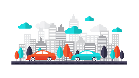 Car on city streets. Car running on the road through the downtown. This set includes icons car, road, tree, town, city, building, cloud, skyscrapers background. Can be us for business banner, website. Flat design vector illustration.