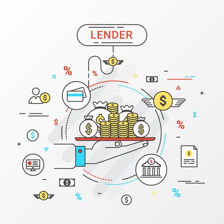 貸し手のインフォ グラフィックのコンセプトです。お金のトレイを持っている手。ローンは、銀行、個人ローン、クレジット カード、組織またはエ