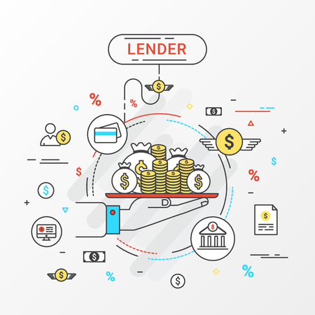 lending: Lender infographics concept. Hand holding a money tray. Loan lending of money from bank, personal loans, credit card, organization or entity. Flat line design create by vector. Can be used for lender banner and advertisement.