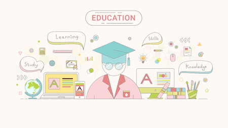 Education infographic concept. Student and education icons flat line style created by the vector. Illustration