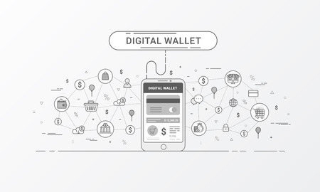 Digital wallet and Mobile wallet . Payment from or via a mobile device. Flat line style design for web banner, commercial, poster design and advertising. Vector illustration.