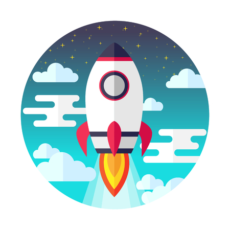 Rocket launch flat design. Spaceship flying through sky background. For website banners, printing, presentation and startup advertising. Vector illustration. Illustration
