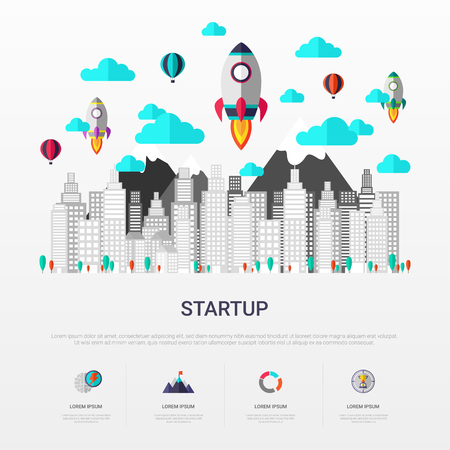 Startup infographic flat design. Rocket launch and city background. For website banners, printing, presentation and new business advertising. Vector illustration