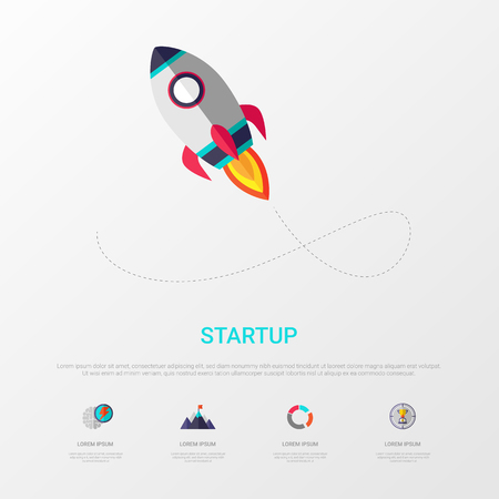 Startup infographic minimal design with rocket icon. For website banners, printing, presentation and new business advertising. Vector illustration.