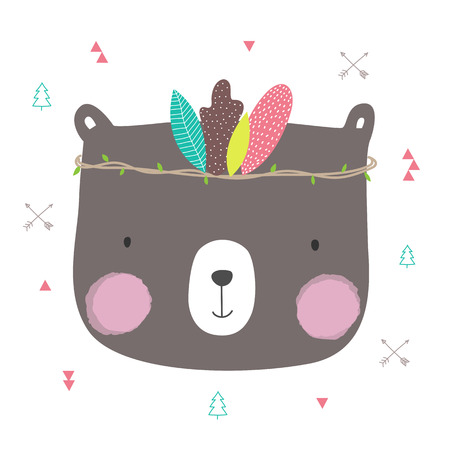 Cute bear boho-chic style with leaf crown for banner and greeting card design. Vector illustration.