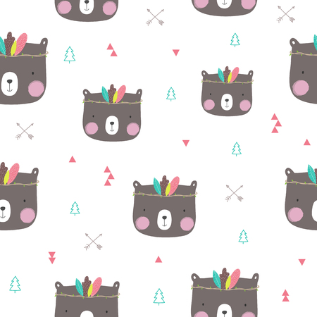 Seamless pattern with cute bear. Vector illustration.