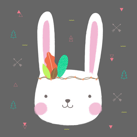 Cute rabbit boho-chic style with flower crown for banner and greeting card design. Vector illustration.