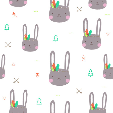 Seamless pattern with cute rabbit. Vector illustration.
