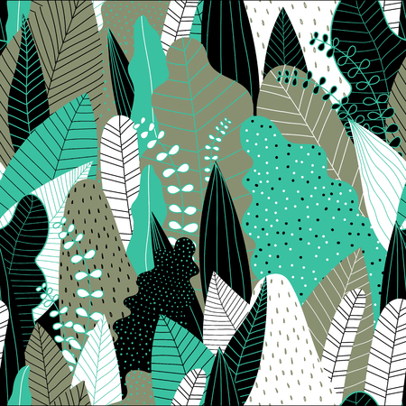 Seamless pattern with leaves. Hand drawn tropical background. Vector illustration.