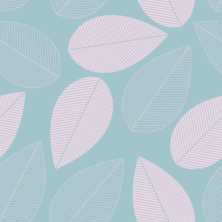 Leaf seamless pattern blue and pink color. Vector illustration Illustration