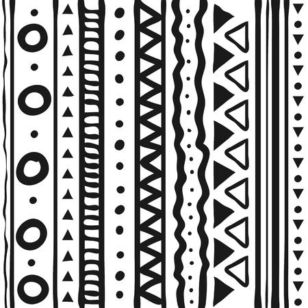 Linea di modelli tribali stile doodle disegnato a mano isolato su priorità bassa bianca. Illustrazione vettoriale.