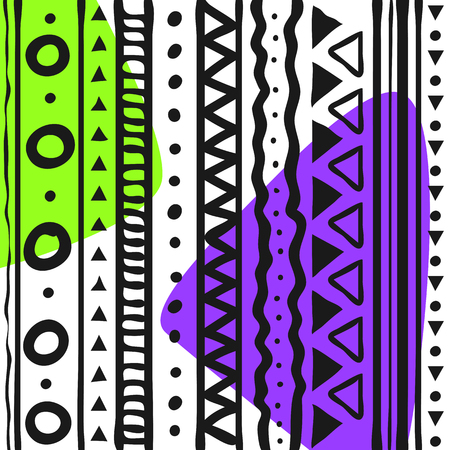 Tribal patterns hand drawn doodle style with purple and green color. Vector illustration.
