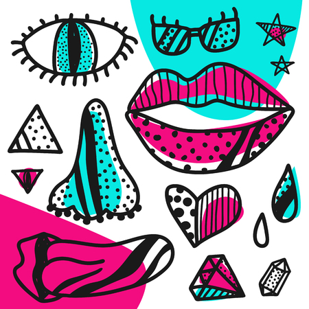 Abstract pattern with hand drawn pop art collection colorful. Vector illustration.