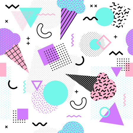 Memphis seamless pattern with ice cream cone and geometric different shapes colorful 80's-90's style. Vector Illustration