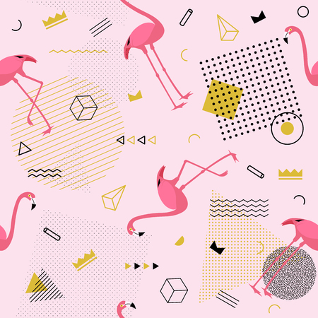 Memphis seamless pattern with flamingo and geometric different shapes colorful fashion 80s-90s style. Vector Illustration
