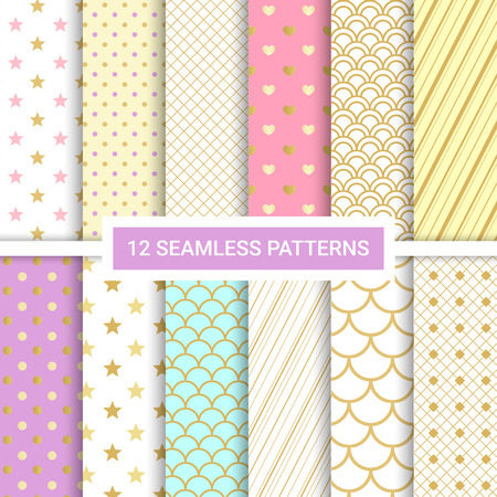 Set of 12 vector cute seamless patterns. Endless line texture for wallpaper, packaging, invitation cards, textile fabric print. Patterns added to the swatch panel. Illustration