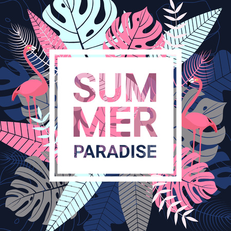 Summer paradise banner with typography, flamingo and tropical leaves on dark blue background for promotion banner, flyer, party poster, printing and website. Vector illustration. Illustration