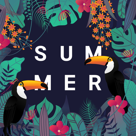 Summer banner with Toco toucan bird , typography, and tropical leaves and flower background for promotion banner, flyer, party poster, printing and website. Vector illustration.
