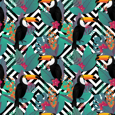 Seamless pattern with Toco toucan bird and tropical leaves and flowers on geometric background for printing and website design, wallpaper and textile fabric print. Vector illustration. Illustration