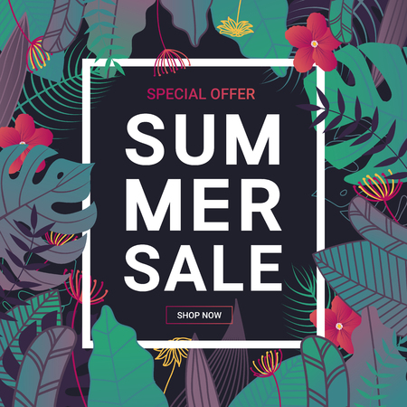 Summer sale banner with tropical leaves and flower on dark background for promotion banner, flyer, party poster, printing and website. Vector illustration. Illustration