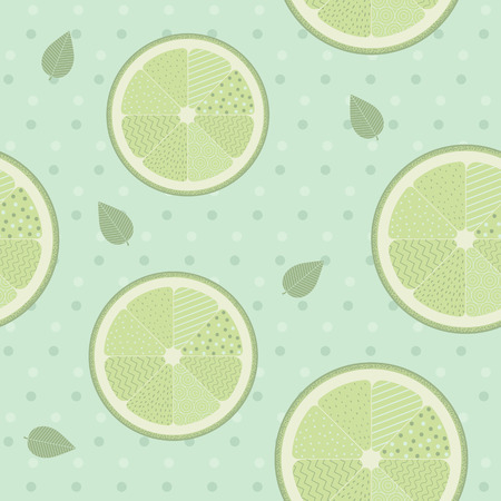 Lime seamless pattern template on blue background. Lemon background vintage style.Vector Illustration. Illustration