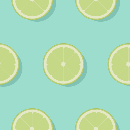 Lime seamless pattern flat design. Lemon on blue background. Vector Illustration.